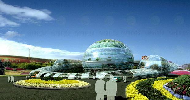 宇宙天门是绿维创景为提升一个4A级景区的景观环境,专门设计的入口大门。这是一个大门式建筑,把大门入口功能、门区游客中心功能、门区出口购物功能、大门观光功能、大门的标志性景观功能融为一体,形成了建筑与大门的一体化创新构架。大门的进入行结构,按照机场汽车入港的环道模式进行设计,整体造型为一个卫星环绕的地球,球内分为三层,分别为游客购物商城、景区导览与游客服务中心、贵宾服务中心。