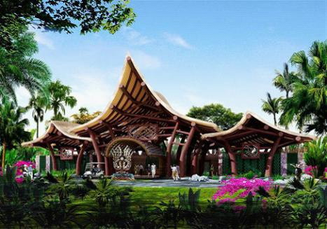 风景的原则,顺应建筑发展大趋势,设计了一个仿生态,标志性的服务中心.
