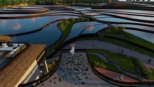 (2)观景廊及观景餐厅设计  在游客中心南侧,将二层平台与餐厅二层