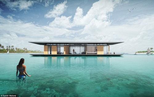 """新加坡一名建筑师设计了一款漂流屋,可让人享受""""人在水中央""""的恬静"""