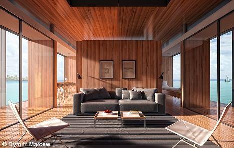 此屋建在巨型浮板上,能在水面浮动,全透明落地玻璃外墙方便住客360度感受被水环绕的快感