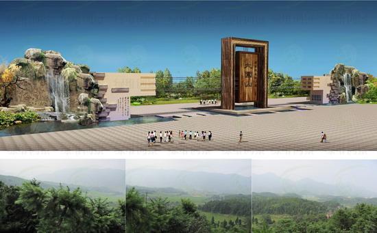 标志性的大门建筑,符合项目本身的定位