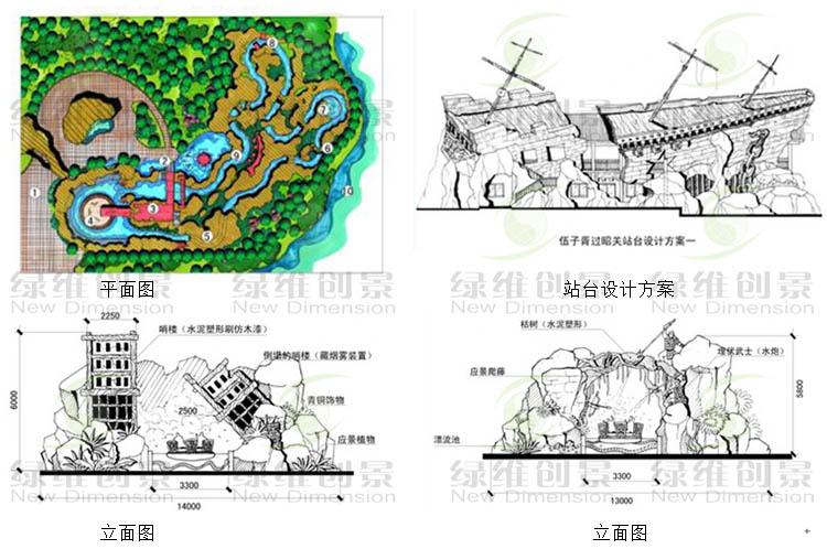 景观园林手绘假山立面图